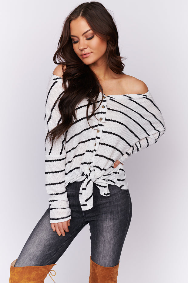 Looking On Point Waffle Knit Top (Ivory)