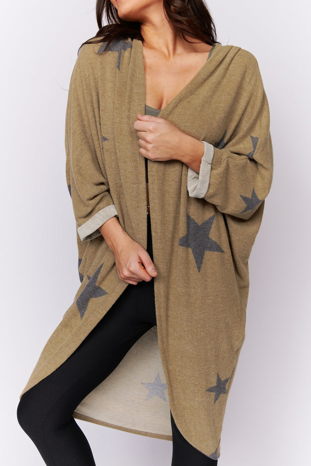 For The Look Star Print Cardigan (Taupe)