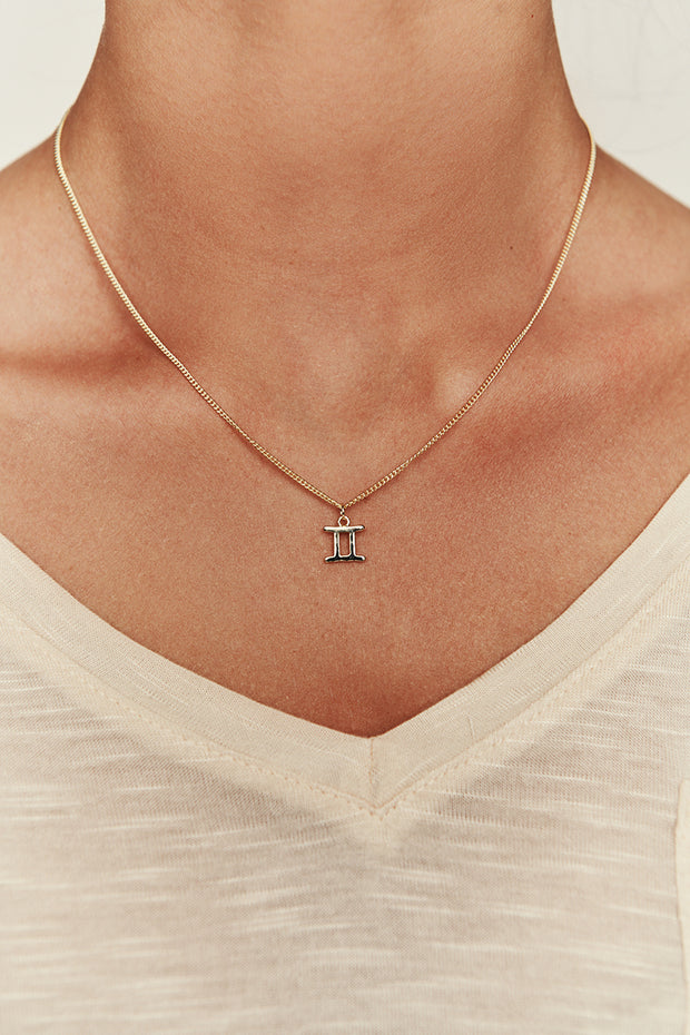 Gemini Charm Necklace (Gold)
