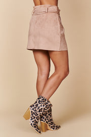 Just Take A Look Buttoned Suede Skirt (Dusty Rose) - NanaMacs