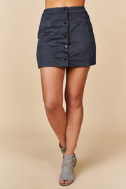 Moving Along Buttoned Mini Skirt (Navy) - NanaMacs