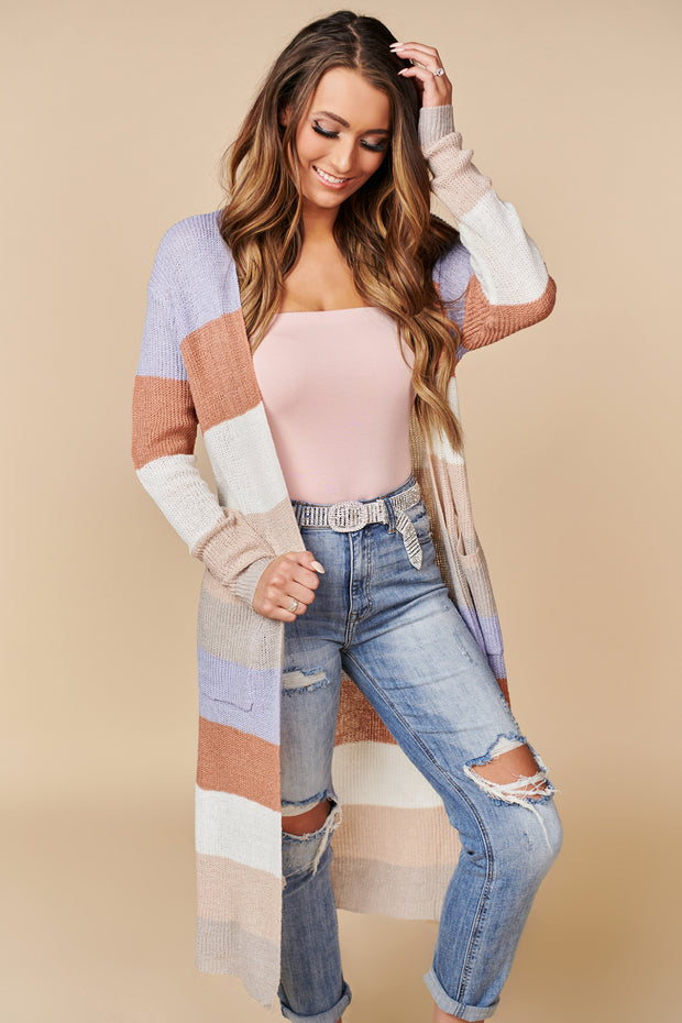 Let's Get Crazy Color Block Cardigan (Lavender/Salmon) - NanaMacs