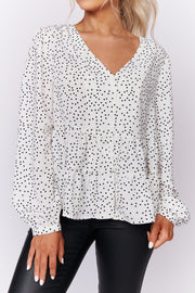 In Your Favor Polka Dot Blouse (Ivory/Black) - NanaMacs