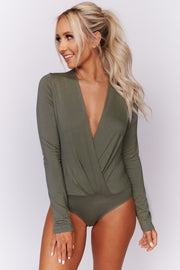 What's Your Sign Surplice Bodysuit (Light Olive) - NanaMacs