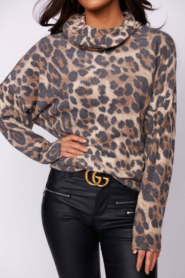 Life Is A Journey Leopard Print Sweater (Taupe)