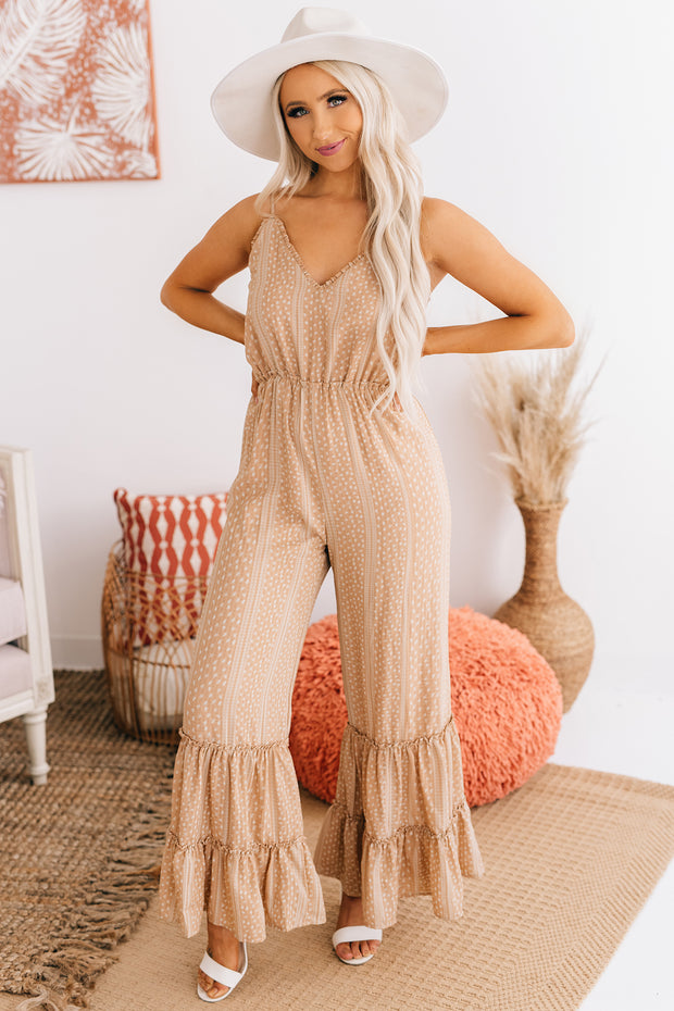 Dare To Be Different Ruffle Pant Jumpsuit (Apricot) - NanaMacs