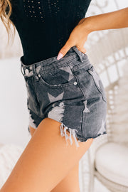 Count Your Lucky Stars Distressed Shorts (Black Denim) - NanaMacs