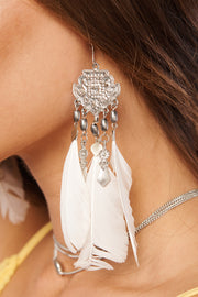 Acacia Feather Earrings (Silver/Ivory)