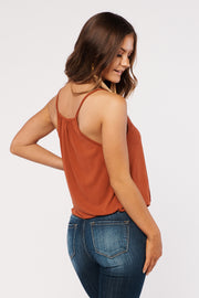 Making A Statement Surplice Top (Rust)