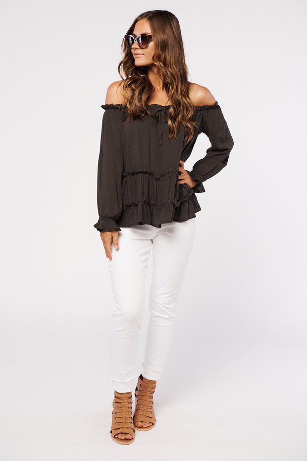 Show You Off The Shoulder Top (Charcoal) - NanaMacs