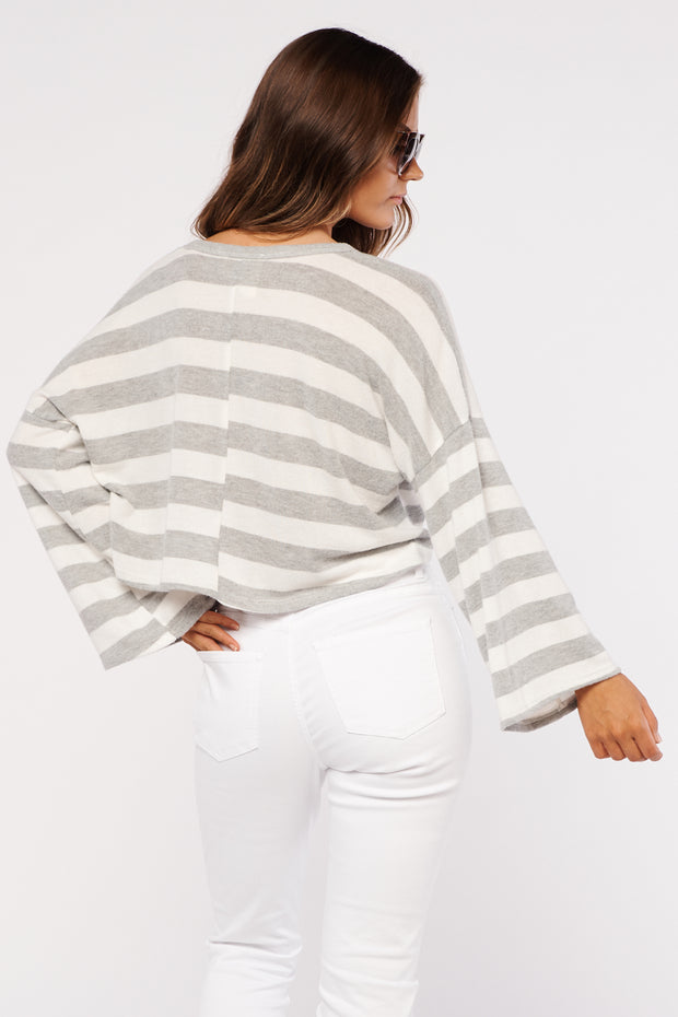 Some Stripe Of Way Top (Grey/Ivory)