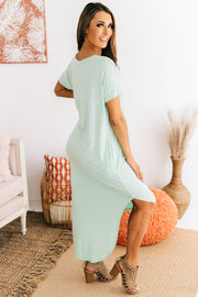 Nothing But Time V-Neck Maxi Dress (Dusty Mint) - NanaMacs