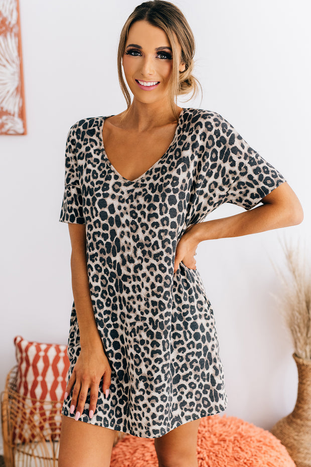 Looking For Attention Leopard Waffle Knit Dress (Taupe) - NanaMacs