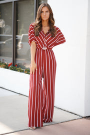 Top Of The Line Striped Jumpsuit (Brick/White)