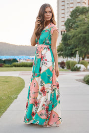 Busy Day Maxi Dress (Teal Multi) - NanaMacs