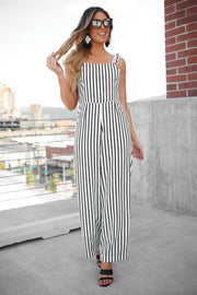 More To Come Jumpsuit (Black/White)