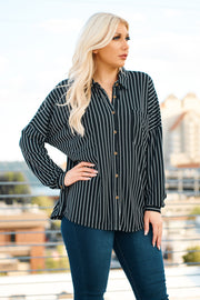 Trinity Button Up Top (Black/White)