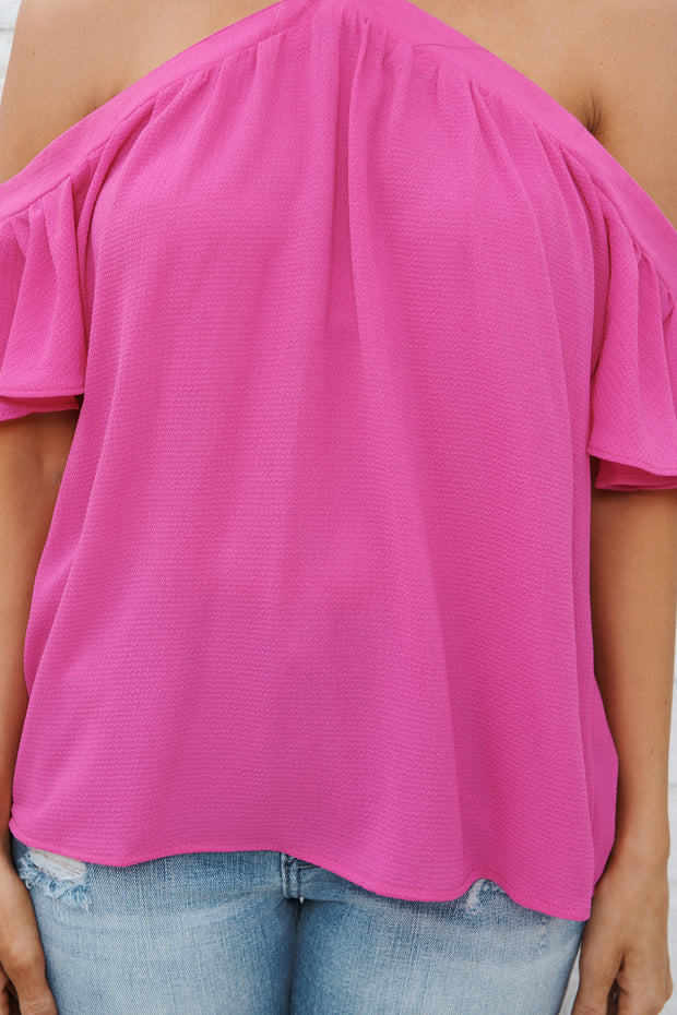 Good Times Off The Shoulder Top (Neon Berry)