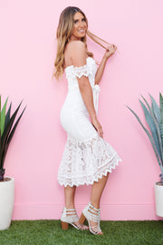 Best Love Story Lace Midi Dress (White)