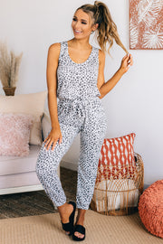 Stare You Down Leopard Print Jumpsuit (Ivory/Black) - NanaMacs