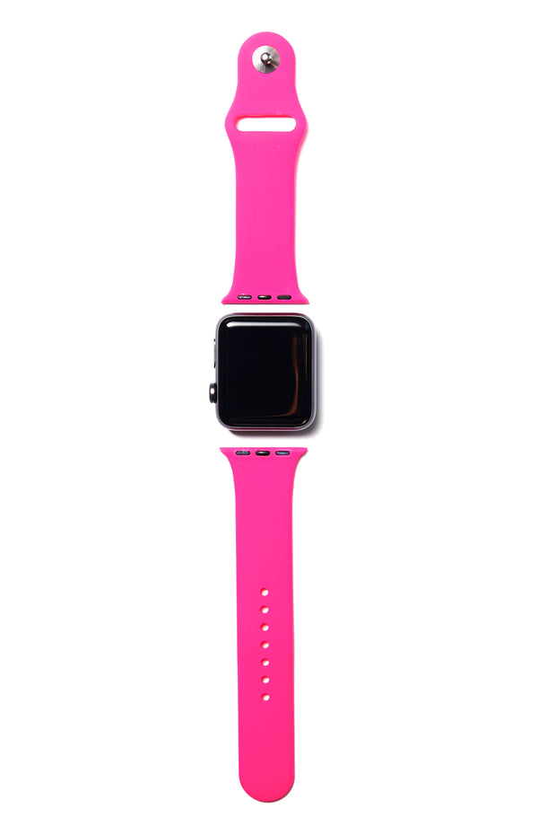 Hot Pink Silicone Apple Watch Band (Neon Hot Pink)