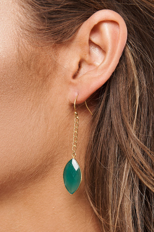 Sophia Drop Earrings (Gold/Green) - NanaMacs