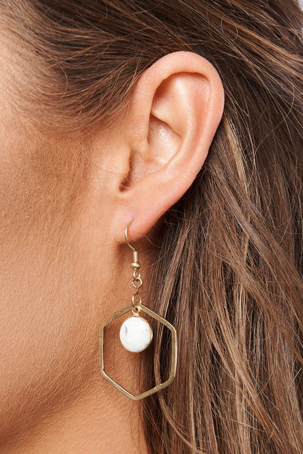 Yoko Dangle Earrings (Gold/Black/White) - NanaMacs