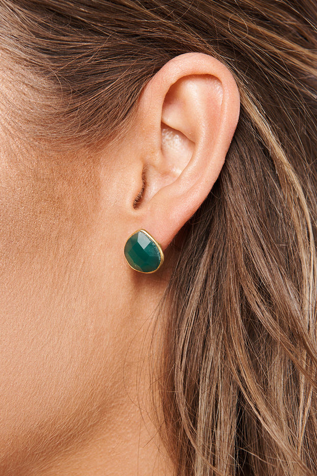 Georgina Studded Earrings (Emerald)