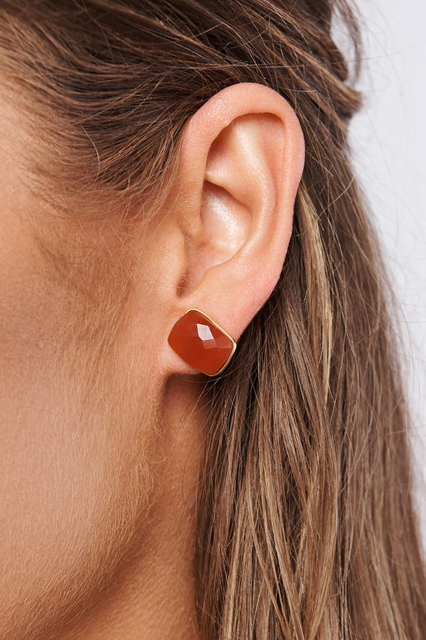 Caylee Stud Earrings (Gold/Orange)