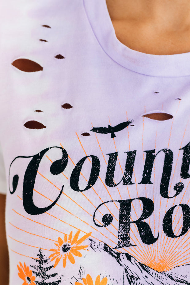 """Country Roads"" Tie Dye Graphic Tee (Purple/White) - NanaMacs"