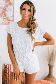 Chase After You Leopard Print Romper (White/Light Grey) - NanaMacs