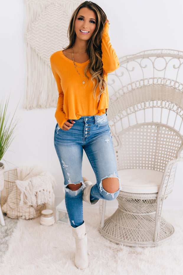 Give Me More V-Neck Long Sleeve Top (Caramel) - NanaMacs