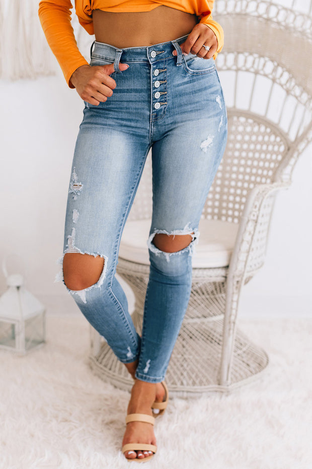 Break Even High Rise Distressed Jeans (Medium) - NanaMacs