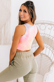 Highlight Of My Day Tie Dye Crop Top (Pink Multi) - NanaMacs