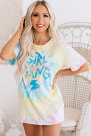 """Girl Gang"" Distressed Tie Dye Graphic Tee (Blue/Yellow/Pink) - NanaMacs"