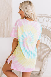 """Spread Your Wings"" Distressed Tie Dye Graphic Tee (Blue/Yellow/Pink) - NanaMacs"