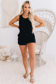 Build Me Up Sleeveless Romper (Black) - NanaMacs