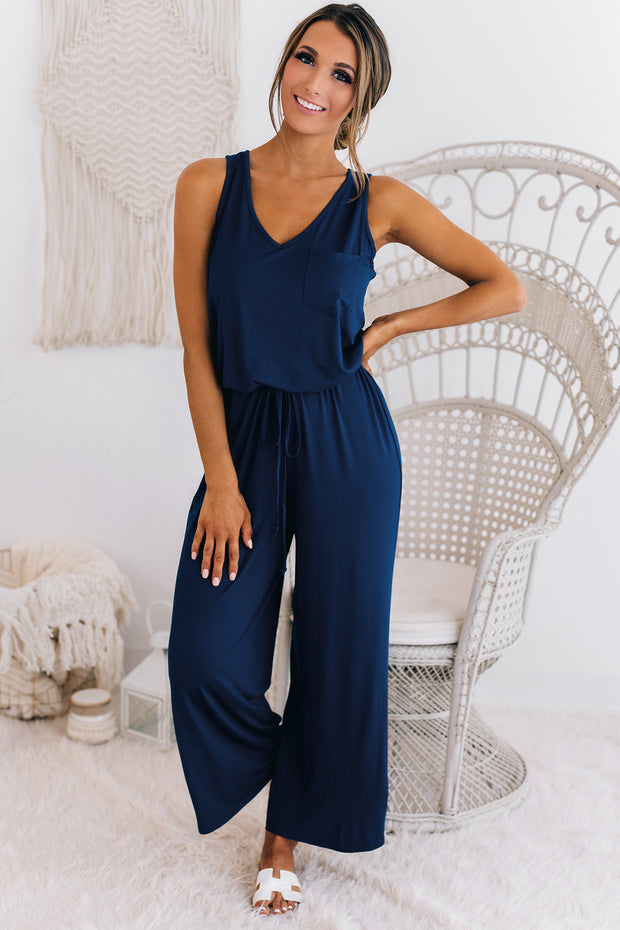 Coast To Coast Sleeveless Jumpsuit (Navy) - NanaMacs