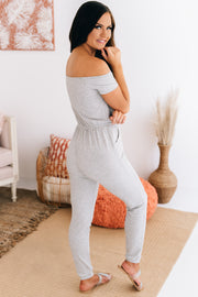 Road Tripping Off The Shoulder Jumpsuit (Heather Grey) - NanaMacs