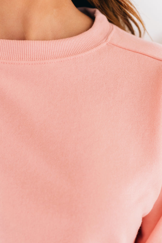 Adventuring Out Cropped Crewneck Top (Blush Pink) - NanaMacs