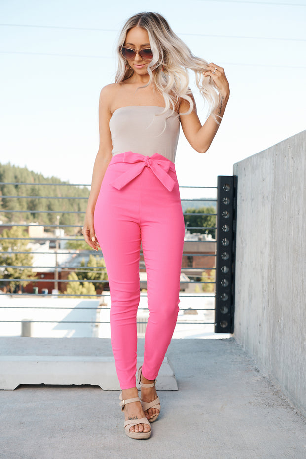 Bow And Behold Pants (Fuchsia)