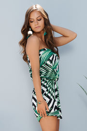Relax In The Tropics Strapless Romper (Black/Green)