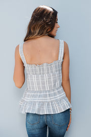 Plaid To The Bone Top (Charcoal)