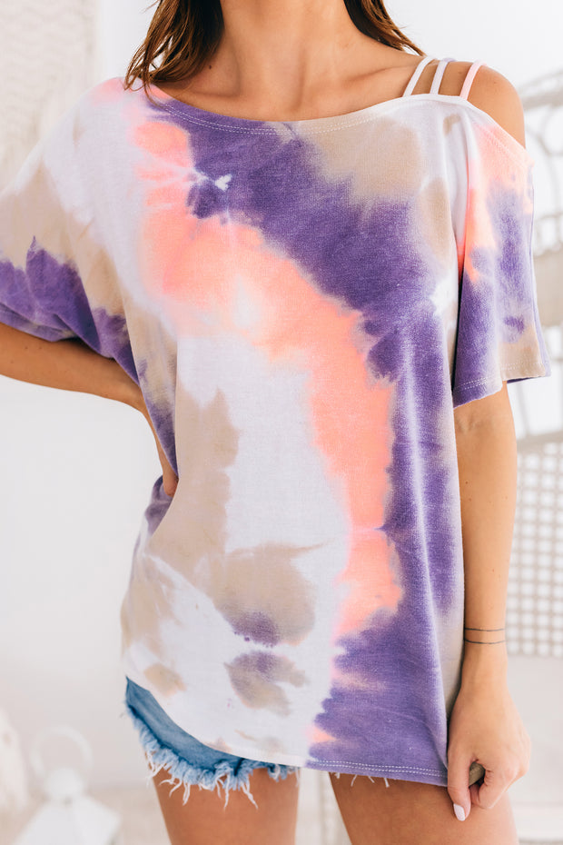 Candid Emotions One Shoulder Tie Dye Top (Lavender/Coral) - NanaMacs