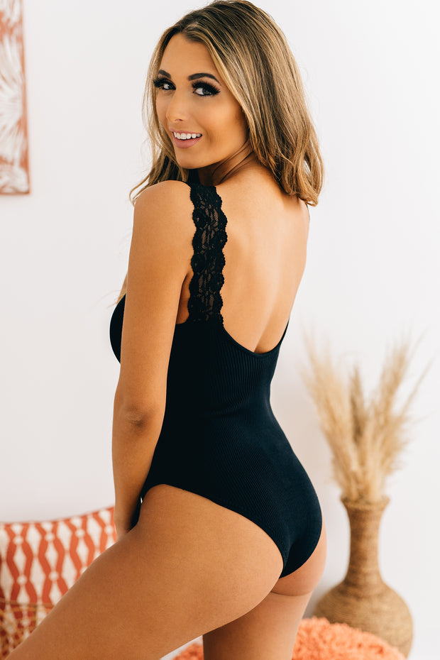 Forever Young Ribbed Bodysuit (Black) - NanaMacs