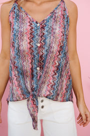 Button Up Buttercup Top (Magenta Multi)