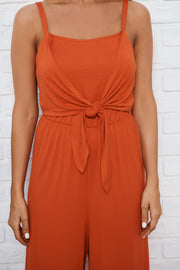 Can't Be Fooled Jumpsuit (Fine Rust)