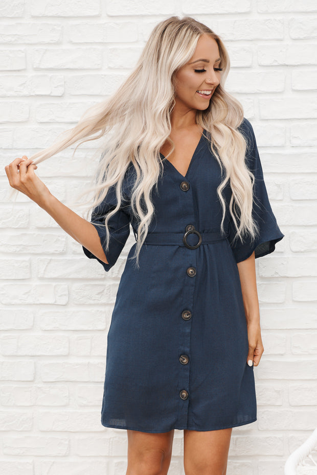 Cute As A Button Dress (Navy)