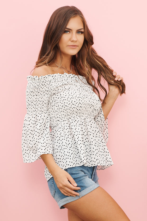 Sweet Beginnings Off The Shoulder Top (Off White) - NanaMacs