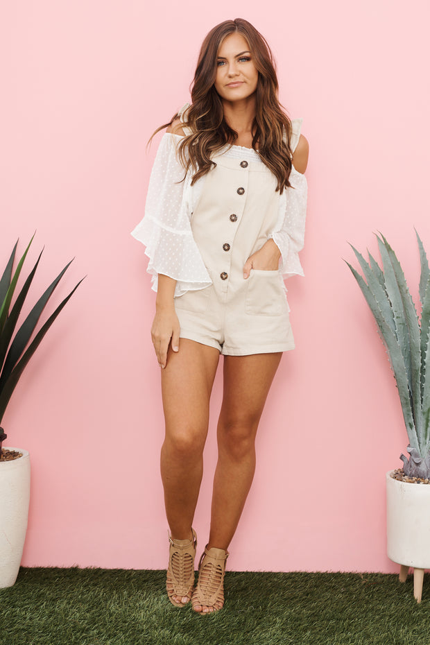 Sunny Strolls Overall Shorts (Beige)